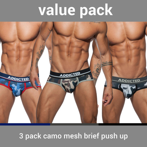 Addicted Underwear 3-Pack Camo Mesh Push Up Brief (AD697P-3COL)