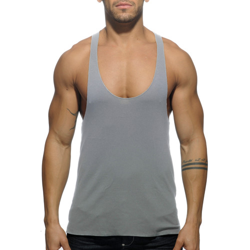 Addicted Back Printed Tanktop Heather Grey (AD340-11)