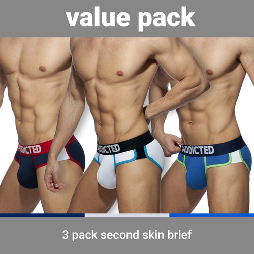 Addicted Underwear 3-Pack Second Skin Briefs (AD897P-3COL)