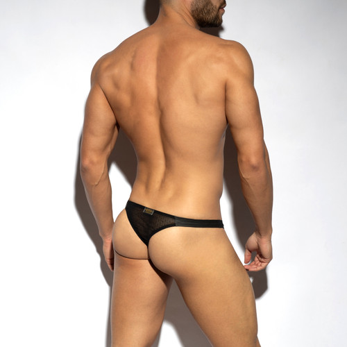 ES Collection Underwear UN461 Plumetti Thong Black (UN461-10)
