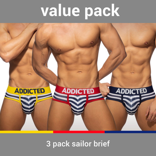 Addicted Underwear 3-Pack Sailor Brief (AD964P-3COL)