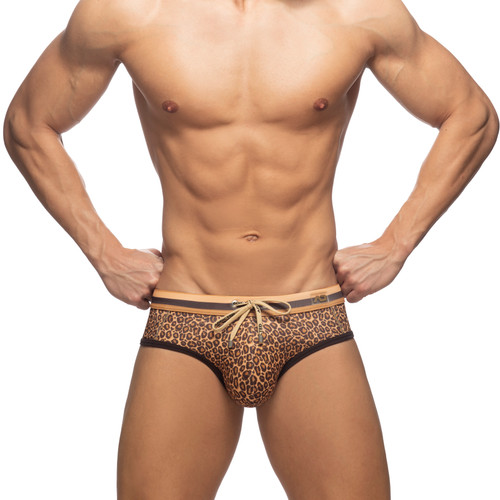 Addicted Swimwear Leopard Stripes Swim Brief Brown (ADS267-13)