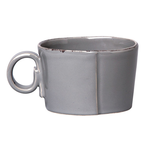 """The Lastra Gray Jumbo Cup is chic and sophisticated, and it was designed to fit into the grooves of the oval tray. An overlapping wooden mold, used for centuries to form cheeses throughout Italy, inspired this collection. 4.75""""D, 3.25""""H LAS-2611G"""