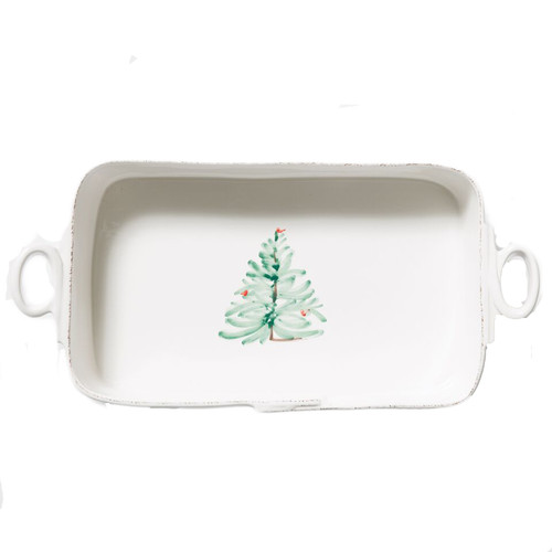 """Delight in the magic of the holiday season with the Lastra Holiday Rectangular Platter. Whether you are hosting a winter brunch or a Christmas dinner, this collection is the perfect complement to your holiday décor. Handpainted on Italian stoneware in Tuscany. 16.5""""L, 8.25""""W, 3.75""""H LAH-2653"""