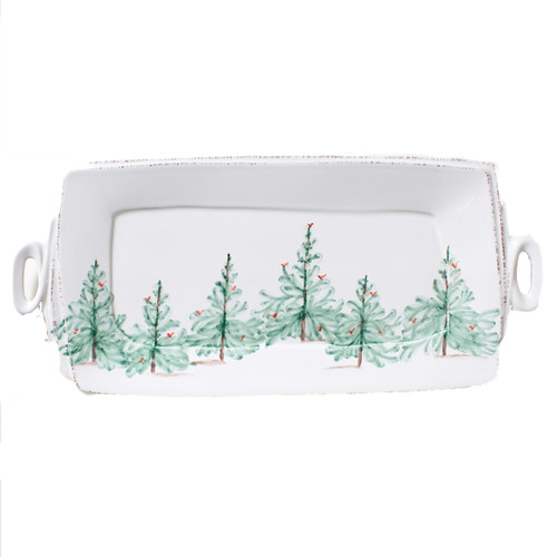 """Host your annual holiday get-togethers in Italian style when you serve an assortment of fresh baked cookies on the Lastra Holiday Handled Rectangular Platter. Handpainted on Italian stoneware in Tuscany, this collection adds a festive touch to any winter gathering. 16""""L, 8.75""""W LAH-2623"""