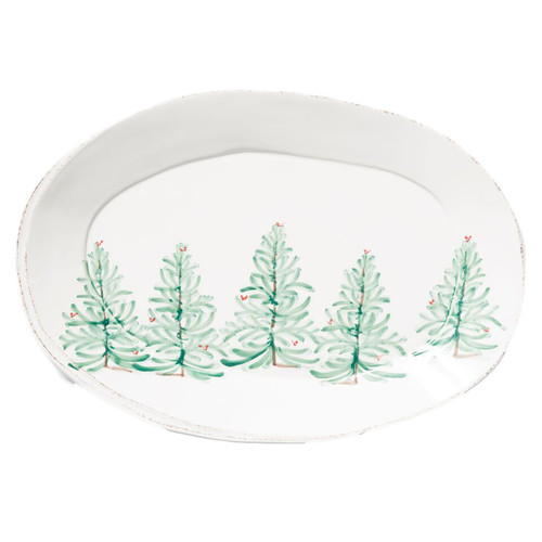 "Delight in the magic of the holiday season with the Lastra Holiday Oval Platter. Whether you are hosting a winter brunch or a Christmas dinner, this collection is the perfect complement to your holiday décor. Handpainted on Italian stoneware in Tuscany.   18.5""L, 12.5""W LAH-2626"