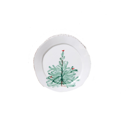 """Create a festive tablescape with the Lastra Holiday Canape Plate. Delight in the holiday magic as handpainted fir trees and bright cardinals drift across the fresh white canvas of this beautiful collection. Handpainted on Italian stoneware in Tuscany, this piece makes the perfect gift, by itself or as a set. 6.25""""D LAH-2670"""