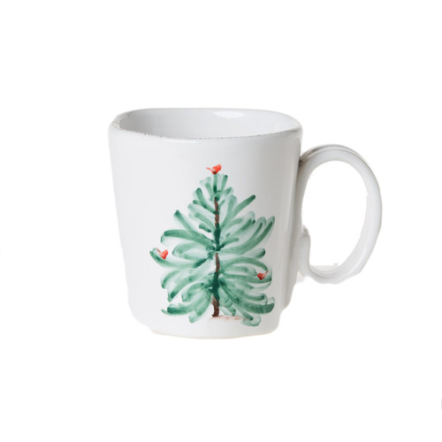 """Handpainted on Italian stoneware in Tuscany, the Lastra Holiday Mug is the perfect size for your favorite festive beverage. Pour yourself a warm cup of homemade hot chocolate or a delicious spiced cider before curling up by the fire for a cozy evening with friends and family. 4""""H, 12 oz. LAH-2610"""