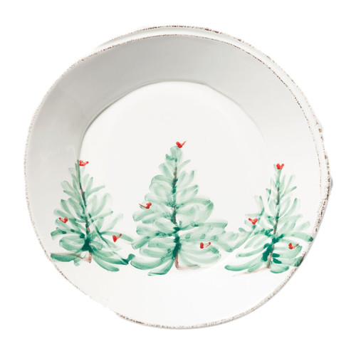 """The Lastra Holiday Pasta Bowl adds charm and cheer to any holiday setting on a elegantly sophisticated piece with rustic edges. The product's shape was inspired by the straps used to form cheese in Italy for centuries. 8.75""""D LAH-2604"""