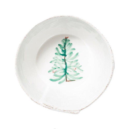 "Create a festive tablescape with the Lastra Holiday Stacking Cereal Bowl. Delight in the holiday magic as handpainted fir trees and bright cardinals drift across the fresh white canvas of this beautiful collection. Handpainted on Italian stoneware in Tuscany, this piece makes the perfect gift, by itself or as a set. 6""D, 3""H LAH-2602"
