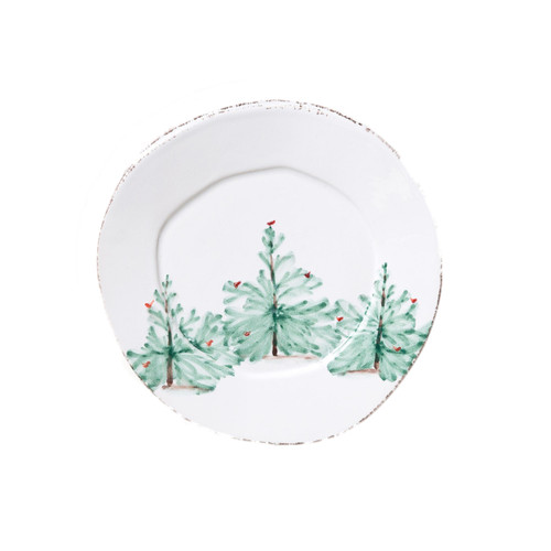"""Delight in the holiday magic as handpainted fir trees and bright cardinals drift across the fresh white canvas of the Lastra Holiday Salad Plate. Mix and match with the Lastra collection for a fun and sophisticated holiday table. Handpainted on Italian stoneware in Tuscany. 8.75""""D LAH-2601"""