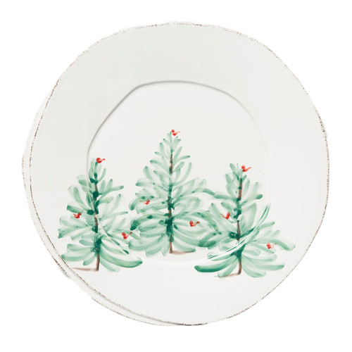 "Handpainted on Italian stoneware in Tuscany, our Lastra Holiday European Dinner Plate reveals a cheerful design on a rustic yet chic shape. Lastra was inspired by the overlapping wooden mold that was used for centuries to form Parmesan and other cheeses throughout Italy. 10.5""D LAH-2606"