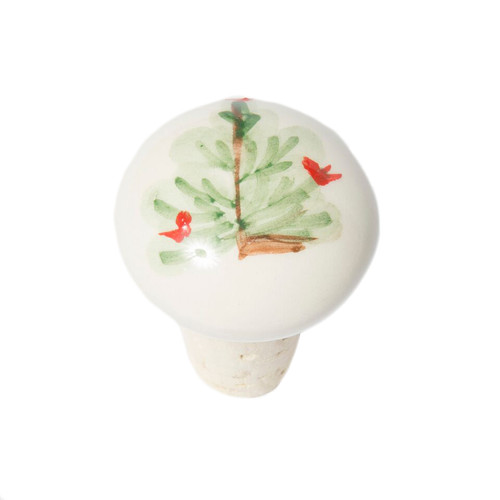 """The Lastra Holiday Cork Stopper features the handpainted Lastra Holiday fir tree against a fresh, white canvas. Add whimsy and good cheer to any holiday inspired setting with this festive collection. 1.5""""D, 2""""H LAH-1092"""