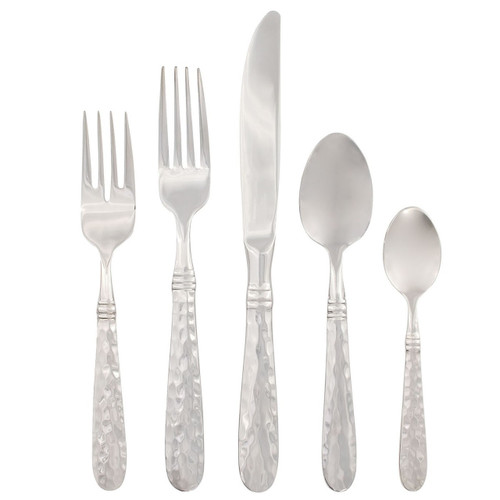 "Italian artisans forge each piece of the Martellato Five-Piece Place Setting adding hammered detail. One of our most popular flatware collections. The 18/10 stainless steel combined with years of craftsmanship result in a well-balanced, weighty flatware.  Made in Lumezzane, Italy, by the Bugatti family. 6.25""-9.5""L MLO-9800N"