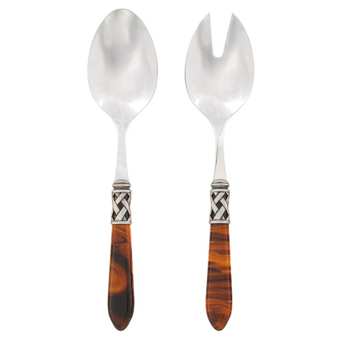 """The Aladdin Antique Salad Server Set in tortoiseshell features elegant, nuanced handles with the strength of high-grade acrylic and 18/10 stainless steel. 9.25""""L ALD-9804T"""