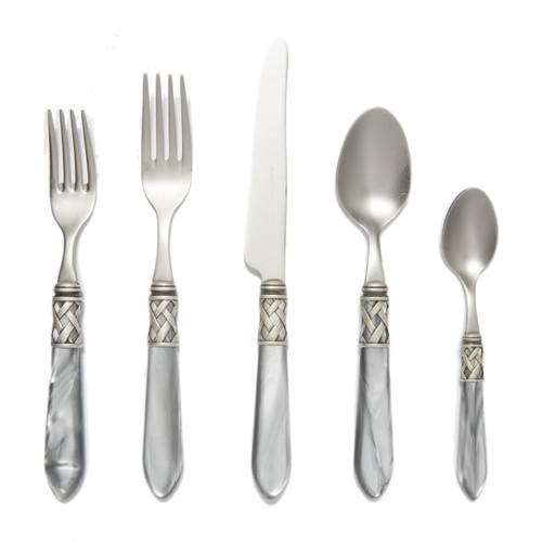 """The Aladdin Antique Light Gray Five-Piece Place Setting features elegant pearlized handles with the strength of high-grade acrylic and 18/10 stainless steel. 6.25""""-9.5""""L ALD-9800LG"""