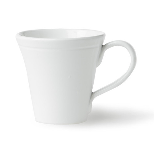"""Handmade into a unique conic shape, the Fresh White Mug is reminiscent of a fashionable, well-traveled lifestyle. Inspired by Italy, this go-to piece can easily become a staple in your studio apartment or a simple addition to well-dressed dinner parties. 4""""H, 10 oz VFRS-2610W"""