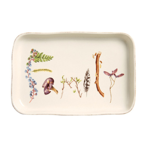 """№ CW77/90 Our charming gift trays express sweet declarations of gratitude (which we believe is the secret to happiness). Decorated with found treasures from the forest floor, each sentiment makes a naturally inspiring token of affection to bestow upon someone you appreciate - we also adore them as place cards that double as meaningful mementos of a beautiful meal.   Measurements: 5"""" W x 7.5"""" L Made of Ceramic Stoneware Oven, Microwave, Dishwasher, and Freezer Safe Made in Portugal Includes Gift Box"""