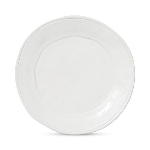 """Simple and clean, serve pizza with prosecco on the Fresh White Dinner Plate. An easy go-to for casual entertaining or in the dining room for well-dressed dinner parties, this playful collection is inspired by a fashionable, well-traveled lifestyle. 10.75""""D VFRS-2600W"""