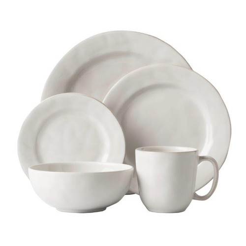 """Puro Whitewash 5pc Setting   № KS29X/10  From our Puro Collection - Everything you need to set a stylish place at your table - perfect for parties, and eminently useful for everyday. Five piece setting includes Dinner Plate, Dessert/Salad Plate, Side/Cocktail Plate, Cereal/Ice Cream Bowl. and Cofftea cup.  Measurements: Dinner Plate: 11"""" W Dessert/Salad Plate: 9"""" W Side/Cocktail Plate: 7"""" W Cereal/Ice Cream Bowl: 6.5"""" W x 2.75"""" H (15 ounces) Cofftea Cup: 3.75"""" W x 3.75"""" H (14 ounces) Made of Ceramic Stoneware Oven, Microwave, Dishwasher, and Freezer Safe Made in Portugal"""