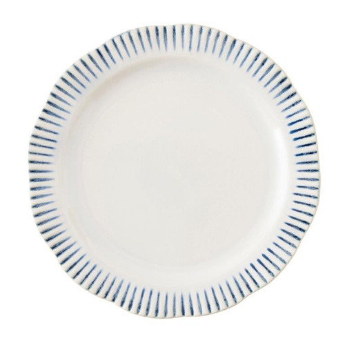 "Sitio Stripe Indigo Dinner Plate  № KW01/046  From our Wanderlust Collection- The radiant stripes symbolize the endless paths of awaited journeys. Mix & match our Sitio Stripe with our seasonal ""Journey"" accent pieces or within any of our collections.     Measurements: 11"" W Made of Ceramic Stoneware Oven, Microwave, Dishwasher, and Freezer Safe Made in Portugal"