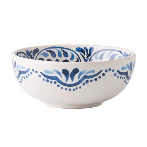 "Iberian Journey Indigo Cereal/Ice Cream Bowl  № KI07/046  From our Wanderlust Collection- A journey to the sandy Iberian coast inspired this Iberian Journey motif. We've reinterpreted this region's stunning cobalt blue painted tiles onto key accent pieces such as this cereal/ice cream bowl.     Measurements: 6"" W x 3.5"" H Capacity: 28 ounces Made of Ceramic Stoneware Oven, Microwave, Dishwasher, and Freezer Safe Made in Portugal"