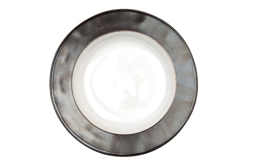 "Emerson White/Pewter Pasta/Soup Bowl  № KP08X/92  From our Emerson Collection - A pristine white basin makes a stark contrast to our lustrous Pewter border, for a look that is both elegant, crisp and mixes seamlessly with other collections.   Measurements: 10"" W x 2"" H Capacity: 16 ounces Made of Ceramic Stoneware Oven, Microwave, Dishwasher, and Freezer Safe Made in Portugal"