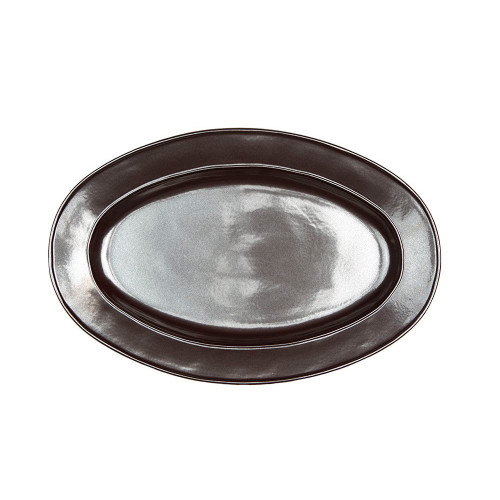 """Pewter Stoneware 15"""" Oval Platter  № KP55/91  From our Pewter Collection - Culinary triumphs shine when set within the bounds of a pewter frame. A historically beautiful aesthetic without the need of a butler to polish, our oven-to-table-to-dishwasher Pewter stoneware is ever-gleaming and endlessly chic.   Measurements: 15"""" L x 10"""" W Made of Ceramic Stoneware Oven, Microwave, Dishwasher, and Freezer Safe Made in Portugal"""
