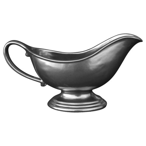"""Pewter Stoneware Sauce Boat  № KP32/91  From our Pewter Collection - A great finishing touch for your Pewter Stoneware collection, our sauce boat has a lovely silhouette and is perfect for your most decadent sauces and mouthwatering gravies.  Measurements: 9"""" L x 4.5"""" H Capacity: 10 ounces Made of Ceramic Stoneware Oven, Microwave, Dishwasher, and Freezer Safe Made in Portugal"""