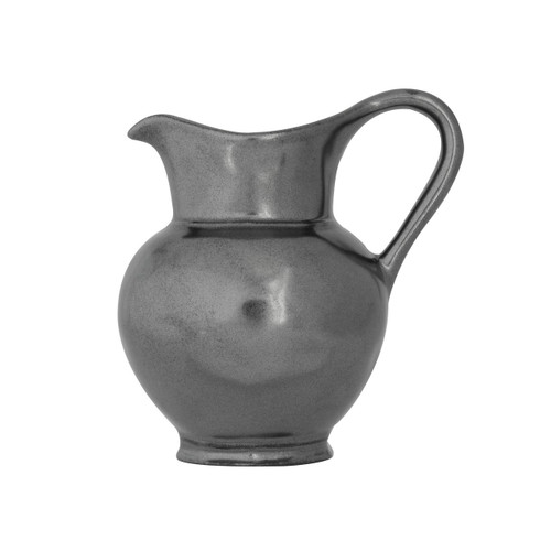 "Pewter Stoneware Creamer  № KP26/91  From our Pewter Collection - This handsome little vessel makes a dashing companion to our sugar bowl. Add a splash of cream to your coffee or a drizzle of syrup to your pancakes with panache.   Measurements: 4.5"" H Capacity: 10 ounces Made of Ceramic Stoneware Oven, Microwave, Dishwasher, and Freezer Safe Made in Portugal"