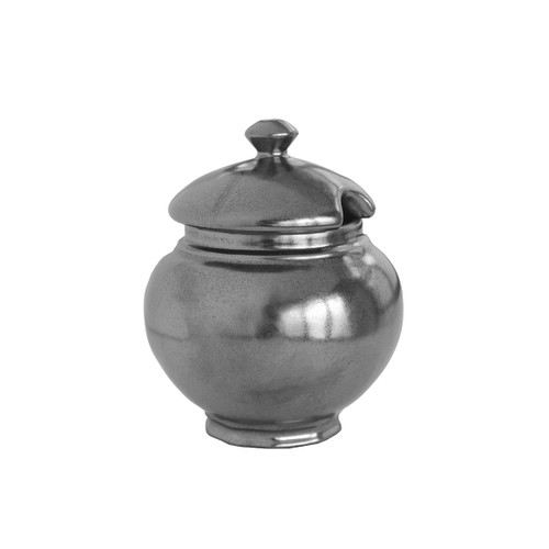 """Pewter Stoneware Lidded Sugar Bowl  № KP27/91  From our Pewter Collection - Snow-white sugar sparkles with contrast in this portly bowl, which also holds condiments, relishes, and jams. We love homemade peach preserves infused with Earl Grey tea leaves.   Measurements: 4.5"""" H Capacity: 8 ounces Made of Ceramic Stoneware Oven, Microwave, Dishwasher, and Freezer Safe Made in Portugal"""