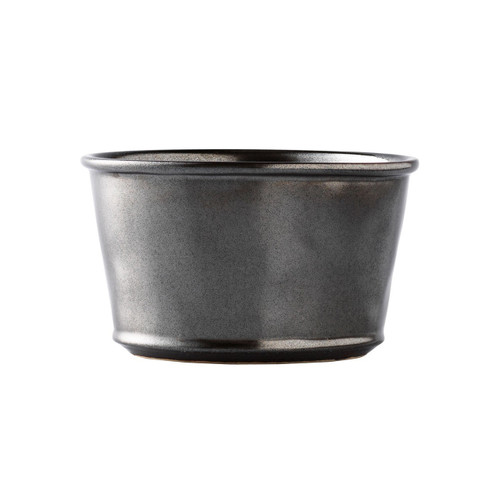 """Pewter Stoneware Ramekin  № KP12X/91  From our Pewter Collection - Your after dinner chocolate pot-de-creme is stunning enough to serve at Hampton Court but practical enough for your everyday delicacies. Our elegant but easy ramekin goes straight from oven to table to dishwasher.;  Measurements: 4"""" W x 2.5"""" H Capacity: 10 ounces Made of Ceramic Stoneware Oven, Microwave, Dishwasher, and Freezer Safe Made in Portugal"""