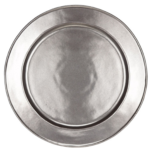"""Pewter Stoneware Charger Plate  № KP09X/91  From our Pewter Collection - Uniting past romance with cool modernism, the hammered finish of this large charger looks like it is bathed in perpetual candlelight. Build your table setting or serve appetizers with this uniquely shaped foundation piece that is equally at home in a dazzling Manhattan duplex or stone cottage.   Measurements: 14"""" W Made of Ceramic Stoneware Oven, Microwave, Dishwasher, and Freezer Safe Made in Portugal"""