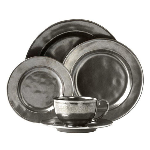 """Pewter Stoneware 5pc Setting  № KP29X/91  From our Pewter Collection - Uniting past romance with cool modernism, the polished style of our Pewter Stoneware looks like it is bathed in perpetual candlelight. The 5 piece place setting contains a round dinner plate, dessert/salad plate, side plate, tea/coffee cup and saucer. .  Measurements Dinner Plate: 11"""" W Dessert/Salad Plate: 9"""" W Side/Cocktail Plate: 7"""" W Saucer: 7"""" W Tea/Coffee Cup: 3""""H x 4.5"""" W (10 oz.) Made of Ceramic Stoneware Oven, Microwave, Dishwasher, and Freezer Safe Made in Portugal"""