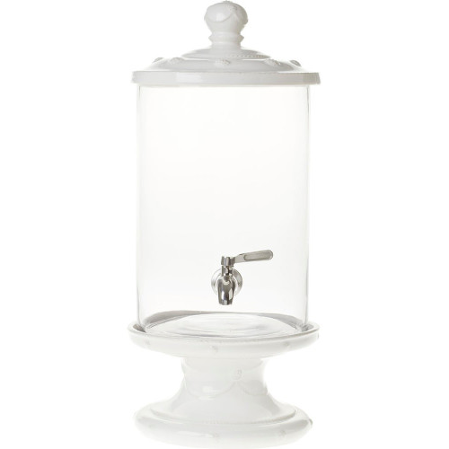 "Berry & Thread Whitewash Beverage Dispenser  № JA67SET/W  From our Berry & Thread Collection- For flawless party planning down to the last decorating detail, this clear glass container boasts a ceramic lid and pedestal in our versatile Whitewash Berry and Thread motif. This abundant dispenser adds just the right splash of understated elegance to any alfresco entertaining.   Measurements: 9"" W x 23.5"" H  Capacity: 9 quarts Made of Ceramic Stoneware, Glass, and Stainless Steel Oven, Microwave, Dishwasher, and Freezer Safe Made in Portugal"