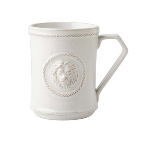 """Berry & Thread Whitewash Cupfull of Courage Mug  № JA117/W  From our Berry & Thread Collection- Whether it's for a gift that speaks for itself or to start your own day, when it comes to this cup we say, fill it to the brim. For with such regal detailing - from the lion's head to the cursive """"courage"""" - the powerful intention may just runneth over!  Product Measures: 3.5"""" W x 4.5"""" H Capacity: 12 ounces Made of Ceramic Stoneware Oven, Microwave, Dishwasher, and Freezer Safe Made in Portugal"""