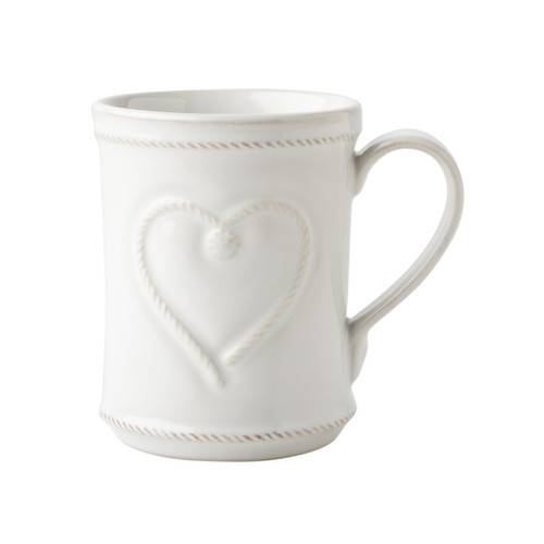 """Berry & Thread Whitewash Cupfull of Love Mug  From our Berry & Thread Collection- Whether it's for a gift that speaks for itself or to start your own day, when it comes to this cup we say, fill it to the brim. For with such lovely detailing - from the heart to the cursive """"love"""" - the positive intention may just runneth over!  Product Measures: 3.5"""" W x 4.5"""" H Capacity: 12 ounces Made of Ceramic Stoneware Oven, Microwave, Dishwasher, and Freezer Safe Made in Portugal"""