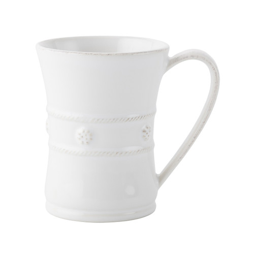 """№ JM/W From our Berry & Thread Collection - The generous size of this mug allows for more steaming hot coffee on foggy mornings before heading out to the office or a round of golf. It is equally as lovely filled with hot chocolate for a fireside rendezvous with your sweetheart.  Measurements: 3.5"""" W x 4.5"""" H Capacity: 12 ounces Made of Ceramic Stoneware Oven, Microwave, Dishwasher, and Freezer Safe Made in Portugal"""