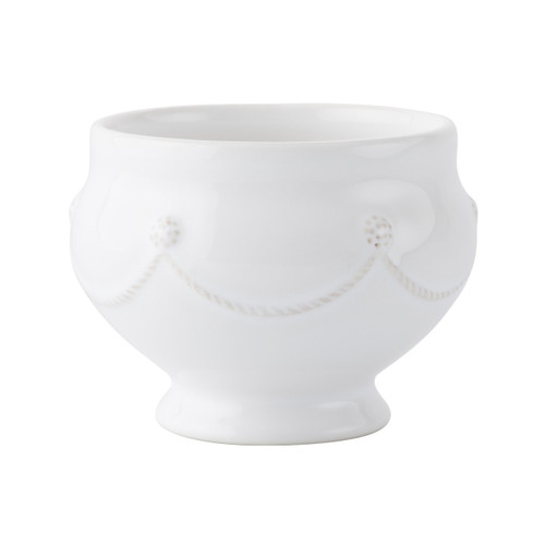 """Berry & Thread Whitewash Footed Soup Bowl  № JA71/W  From our Berry & Thread Collection - This statuesque bowl brings its own charming presence to the table, and quite possibly may inspire your best French onion soup or chocolate mousse.   Measurements: 5"""" W x 3.5"""" H Capacity: 16 ounces Made of Ceramic Stoneware Oven, Microwave, Dishwasher, and Freezer Safe Made in Portugal"""