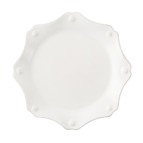 "Berry & Thread Whitewash Scallop Dessert/Salad Plate  № JDSS/W  From our Berry & Thread Collection- Never serve the same dish twice - mix and match this sweetly scalloped little plate with any of our collections. Clad in our thread and berry motif, it lends a subtle flourish to your delectable confections.  Measurements: 9"" W Made of Ceramic Stoneware Oven, Microwave, Dishwasher, and Freezer Safe Made in Portugal"
