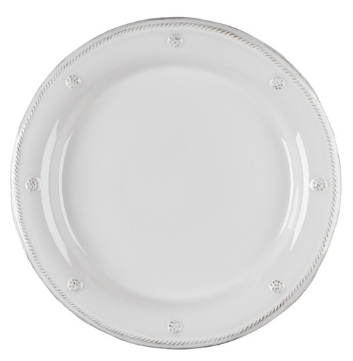 "Berry & Thread Whitewash Dinner Plate  № JDR/W  From our Berry & Thread Collection - Our casually elegant Whitewash dinner plate is divinely versatile and transcends the ordinary with an infusion of everyday sophistication.  Measurements: 11"" W  Made of Ceramic Stoneware Oven, Microwave, Dishwasher, and Freezer Safe Made in Portugal"