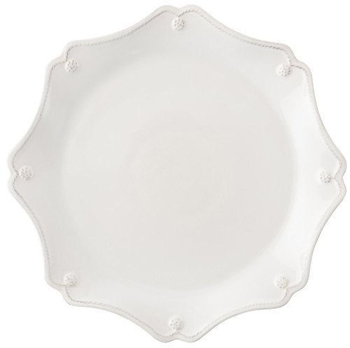 """Berry & Thread Whitewash Scallop Charger Plate  № JCS/W  From our Berry & Thread Collection- Featuring an elegant scalloped edge trimmed with our thread and berry motif, this classic foundation piece elegantly frames your place setting and doubles as an abundant dinner plate or serving platter.   Measurements: 13.5"""" W  Made of Ceramic Stoneware Oven, Microwave, Dishwasher, and Freezer Safe Made in Portugal"""
