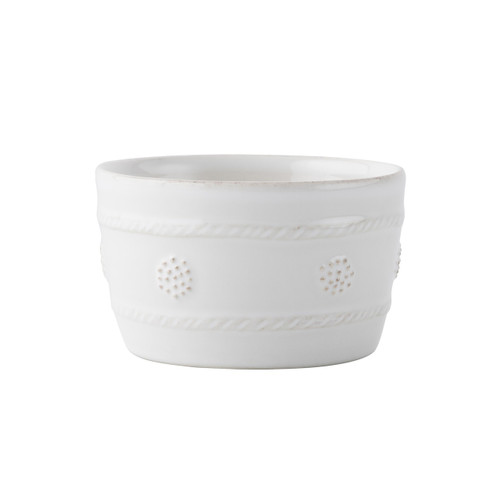 "Berry & Thread Whitewash Ramekin  № JA12/W  From our Berry & Thread Collection- Our slightly oversized ramekin is the most versatile item in your kitchen! Use for herbed butters, petit souffl?s, or for an assortment of nibbles.   Measurements: 4"" W x 2.5"" H Capacity: 8 ounces Made of Ceramic Stoneware Oven, Microwave, Dishwasher, and Freezer Safe Made in Portugal"