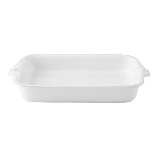 """Berry & Thread Whitewash Rectangular Baker  № JA20/W  From our Berry & Thread Collection - Tastefully trimmed and sized for everyday use, take your favorite recipes from the oven to table with seamless style, whether it's for a simple supper or a springtime buffet.   Measurements: 16"""" L x 9.5"""" W Capacity: 2.5 quarts Made of Ceramic Stoneware Oven, Microwave, Dishwasher, and Freezer Safe Made in Portugal"""
