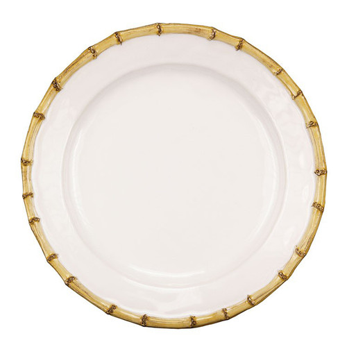 """Classic Bamboo Natural Dinner Plate  № KM01/34  From our Classic Bamboo Collection- Natural textures are immediately welcoming. Our bamboo trim exudes casual elegance that lends a dash of international flair to the table and mixes easily with other collections.  Measurements: 11"""" W Made of Ceramic Stoneware Oven, Microwave, Dishwasher, and Freezer Safe Made in Portugal"""