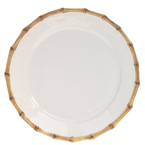 Juliska Classic Bamboo Natural Charger Plate  № KM09X/34 From Juliska's Classic Bamboo Collection from plumpuddingkitchen.com - A clean modern shape is encircled with the timeless aesthetic of bamboo for a look that translates across continents. Use this chic plate as a serving platter for appetizers or as a cake plate.