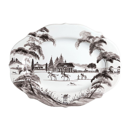 "№ CE55/94 From our Country Estate Collection- Bring a dash of the graceful equine and noble pursuits to the table with this stately serving platter that serves as handsome housing for everything from Sunday roast to an assortment of cheeses. Our ceramic stoneware is made in Portugal and is oven, microwave, dishwasher and freezer safe.  Measurements: 15"" L, 11"" W Made of Ceramic Stoneware Oven, Microwave, Dishwasher, and Freezer Safe Made in Portugal"