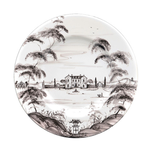 "Country Estate Flint Dinner Plate Main House  № CE01/94  From our Country Estate Collection- Welcome to the main house, where friends and family have gathered for generations and country food is raised to a point of fine art. A feast for the eyes and table, our stately dinner plate is a portrait of the inviting and bustling life you can explore on the estate and where you can always find something delectable bubbling away in the kitchen. Featuring: the Main House, Boathouse, and Apple Orchard.  Measurements: 11"" W Made of Ceramic Stoneware Oven, Microwave, Dishwasher, and Freezer Safe Made in Portugal"