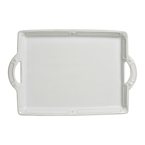 "Berry & Thread French Panel Whitewash Handled Tray/Platter  № JB25/W  Go ahead and get carried away with this beautiful and eminently useful tray that is adorned in the impeccably elegant symmetry of our French Panel motif, that can be used for everything from breakfast in bed to poolside cocktails. .  Measurements: 12"" W x 14"" L Made of Ceramic Stoneware Oven, Microwave, Dishwasher, and Freezer safe Made in Portugal"