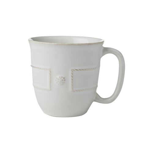 "Berry & Thread French Panel Whitewash Cofftea Cup  № JB46/W  Coffee and croissant or tea and macarons? Designed to house the perfect cup of either coffee or tea, you'll never have to choose sides again with this trim cup that combines textural warmth with ordered symmetry, and the old world with the new.   Measurements: 3.75"" W x 4"" H Capacity: 12 ounces Made of Ceramic Stoneware Oven, Microwave, Dishwasher, and Freezer Safe Made in Portugal"